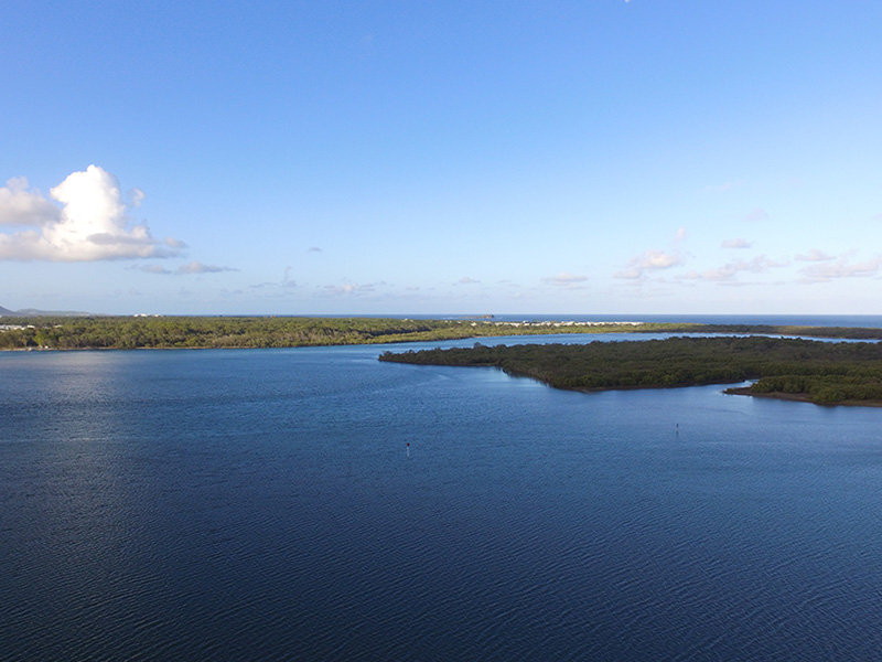 A good spot to target flathead on the last of the run out tide around the small creeks that drain out. Looking north-east towards the river mouth of Maroochy River.