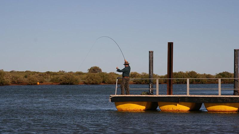 Angler fly fishing at the Beadon Creek jetty